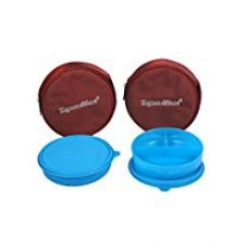 Signoraware Mini Meal Lunch Box with Bag Set, 550ml, Set of 2, Turkish Blue for Rs. 560