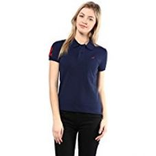 Buy American Crew Women's Polo Collar Solid With Applique T-Shirt (Navy Blue) from Amazon