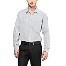 Buy American Crew Men's Full Sleeve Stripes Shirt With Pocket (White & Black) from Amazon