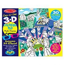 Buy Melissa & Doug Easy-to-See 3-D Kids' Coloring Pad - Princesses, Fairies, Horses, and More, Multi Color from Amazon