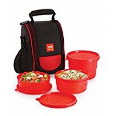 Cello Max Fresh Super Polypropylene Lunch Box Set, 225ml, 3-Pieces, Red for Rs. 429