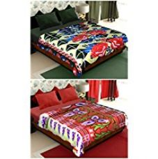 Story@Home Coral Collection Soft Printed Fleece Mink 2 Piece Polyester Double Bed Blanket - Yellow and Red for Rs. 600