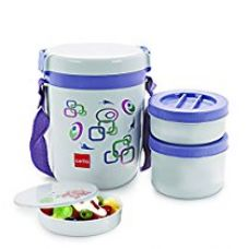 Cello Super Executive Insulated 3 Container Lunch Carrier, Grey (LP_SUPREXE3_Blue Grey_3 CNT) for Rs. 454