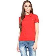 Buy American Crew Women's Polo Collar Solid With Applique T-Shirt (Red) from Amazon