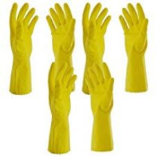 Primeway Rubberex Flocklined Medium Rubber Hand Gloves (Yellow, Pack of 3) for Rs. 279