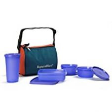 Signoraware Best Sapphire Plastic Lunch Box Set with Bag, 4-Pieces, Violet for Rs. 490