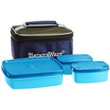 Buy Signoraware Hot N Cute Polypropylene Lunch Box with Bag, 3-Pieces, T Blue from Amazon