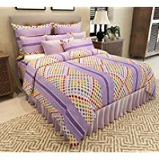 Buy Home Candy Polka Dots Premium Cotton Double Bedsheet with 2 Pillow Covers - Purple from Amazon