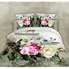 Buy 5D Rose Floral Print Single BedSheet With 1 Pillow Cover With Zip Pouch from Amazon