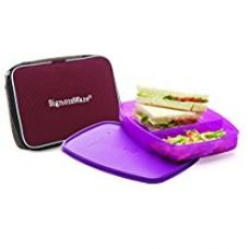 Signoraware Slim Plastic Lunch Box with Bag, 610ml, Purple for Rs. 285