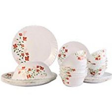 Larah Janus Opalware Glass Dinner Set, 25-Pieces, White for Rs. 2,039