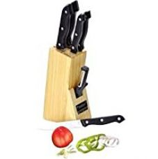 Buy Prestige Tru-Edge Kitchen Knife Set, 5-Pieces set with Wooden block and Free Peeler with this pack from Amazon