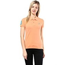 Buy American Crew Women's Polo Collar Solid With Applique T-Shirt (Peach) from Amazon