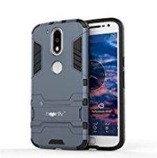 Heartly Graphic Designed Kick Stand Hard Dual Rugged Armor Hybrid Bumper Back Case Cover For Motorola Moto G Plus 4th Gen / Moto G4 Plus / Moto G4 - Rugged Black for Rs. 399