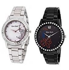 Buy Silver Kartz Analogue Silver,Black Dial Women'S And Girl'S Watch- Wcm6-17 from Amazon