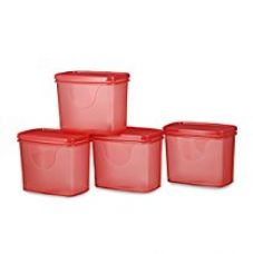 Buy All Time Plastics Sleek Container Set, Set of 4, Red from Amazon