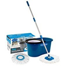 Primeway Magic Spin Mop and Bucket for 360 Degree Rotating Cleaning with 2 Microfiber Mop Heads, Dark Blue for Rs. 749