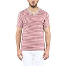 Buy American Crew Men's V-Neck Stipres T-Shirt (Grey & Brick Red Melange) from Amazon