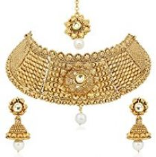 Buy Meenaz Jewellery Gold Plated Kundan Pearl Necklace Set Mang Tikka Ear rings for girls Jewellery Set With Earrings For Women,Girls -Necklace Sets 127 from Amazon