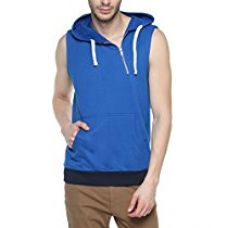 Buy Campus Sutra Royal Blue Mens cotton Sleeveless Cross Zipped Hoodie from Amazon