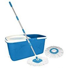 Buy Primeway Magic Spin Mop and Twin Bucket for 360 Degree Rotating Cleaning with 2 Microfibre Mop Heads, Blue, 6 Ltr from Amazon