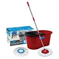 Buy Primeway 360 Rotating Magic Mop and Bucket with 2 Microfiber Mop Heads, Solid Red from Amazon