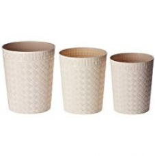 Buy Miamour Set of 3 Plastic Dustbins, 12, 9, 6 Litres, Beige from Amazon