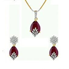 M Creation Gold Plated Ruby Colored Pendant Set For Women for Rs. 399