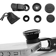 DMG Universal 3 in 1 Cell Phone Camera Lens Kit - Fish Eye Lens / 2 in 1 Macro Lens & Wide Angle Lens / Universal Clip (Black) for Rs. 399