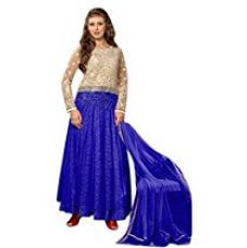Vibes Women's Pure Rasal Net Unstiched Dress Materials (V217-6003_Blue) for Rs. 799