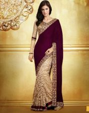 Get 67% off on Fancy Designer Sarees Bollywood Unique Velvet  Half N Half Brasso Saree With Blouse Piece