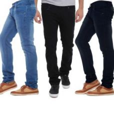 Flat 81% off on Stylox Pack Of 3 Black  Blue Mid Rise Jeans For Mens