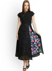Buy Belle Fille Black Polyester Georgette Maxi Dress from Myntra