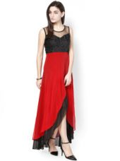 Buy Athena Black & Red Georgette Maxi Dress from Myntra
