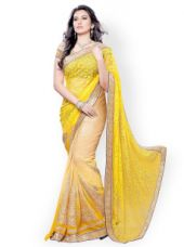 Buy Colors Yellow Embroidered Brasso Fashion Saree for Rs. 1199