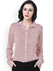 Get 40% off on PURYS Women Pink Printed Shirt