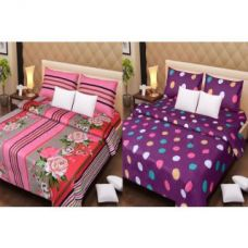 2 Cotton Double Bedsheet & 4 pillow covers