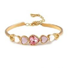 Nevi Joined Hearts Swarovski Elements 18K Gold Plated Brass Kada Bracelet For Women And Girls (Pink White Gold) for Rs. 999