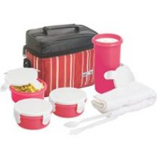 Nayasa Toasty Plastic Lunch Box, 4-Pieces, Red for Rs. 515