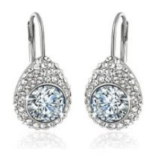 Buy Yellow Chimes Swarovski Elements White Crystal Princess Cut Designer Earrings for Women and Girls from Amazon