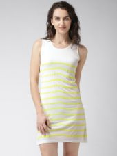 Get 60% off on Mast & Harbour Off-White & Yellow Striped Jersey Dress