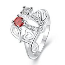 Yellow Chimes Love Heart Proposal Red Austrian Crystal Designer Ring for Girls and Women for Rs. 375