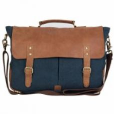 The House Of Tara Leather and Canvas Office and Laptop Bag (Combat Blue) for Rs. 1,699