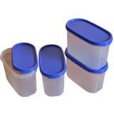 Buy Tupperware Modular Mates Oval Plastic Container Set, 1.1 Litres, 4-Pieces, Multicolor from Amazon
