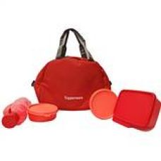 Tupperware Tupsling Sling-A-Bling Plastic Lunch Set with Designer Bag, 4-Pieces, Multicolour for Rs. 920