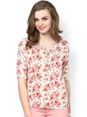 La Zoire Cream-Coloured Polyester Crepe Printed Top for Rs. 454