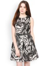 Buy La Zoire Grey & Black Printed Fit & Flare Dress for Rs. 599