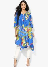 Buy Biba Blue Printed Kurti for Rs. 630