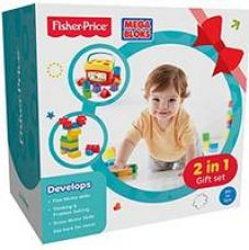 Fisher Price 2 in 1 Gift Set with Baby's First Blocks and Mega Blocks, Multi Color for Rs. 999