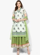 Buy Biba Off White Printed Cotton Silk Kurta Skirt Dupatta from Jabong
